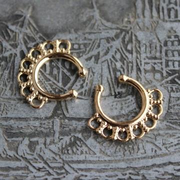 Fake Septum z ozdobą Hindu Złoty