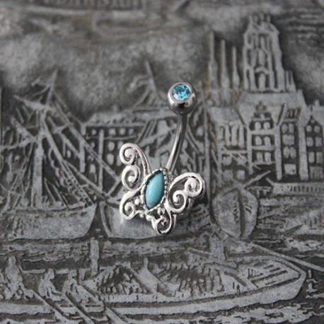 Kolczyk do pępka z ozdobą w kształcie motyla