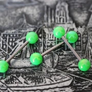 Sztanga do języka z zielonymi akrylowymi kulkami POŁYSK