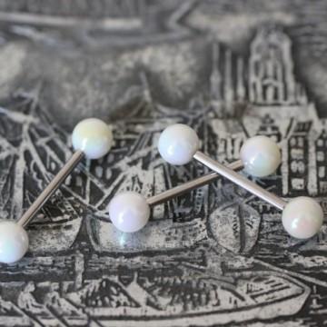 Sztanga do języka z białymi akrylowymi kulkami POŁYSK
