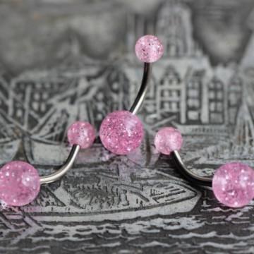 Tytanowy kolczyk do pępka z różowymi brokatowymi kulkami