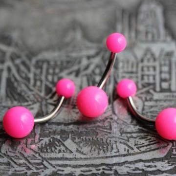 Tytanowy kolczyk do pępka z różowymi kulkami