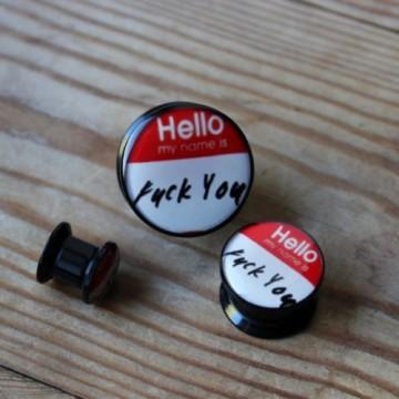 "Plug akrylowy - ""Hello, my name is"""