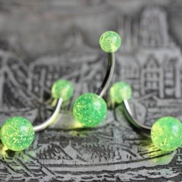 Kolczyk do pępka ze stali z kulkami brokatowymi JASKRAWO-ŻÓŁTY