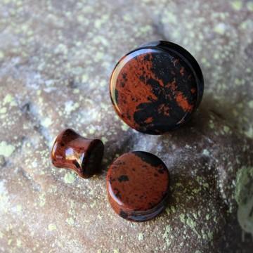 Plug z kamienia półszlachetnego Obsydian Mahoniowy