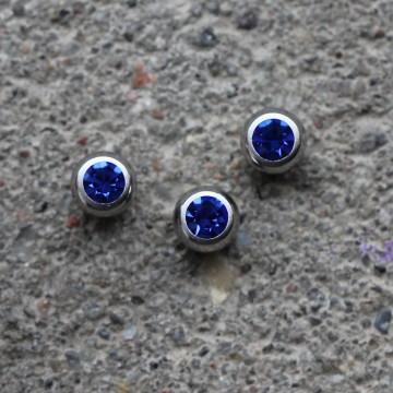 Kulka stalowa z kryształkiem NIEBIESKI