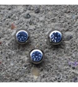 Kulka stalowa z kryształkiem BŁĘKITNY