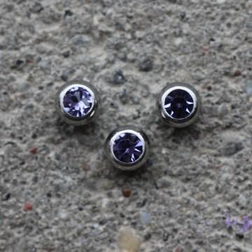 Kulka stalowa z kryształkiem TANZANITOWY
