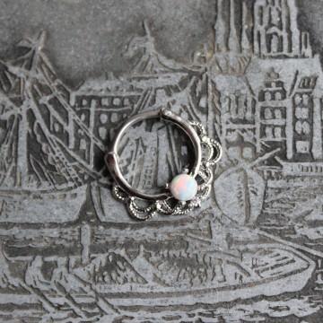 Septum clicker stalowy z białym opalitem