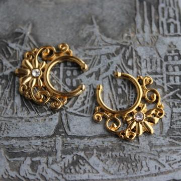 Fake Septum ornament z kryształłkiem ZŁOTY