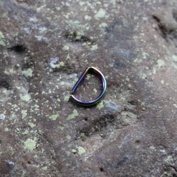 Kolczyk do nosa , ucha D - ring TĘCZOWY