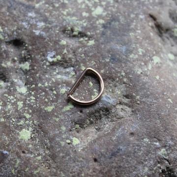 Kolczyk do nosa , ucha D - ring RÓŻOWE ZŁOTO