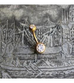 Kolczyk do pępka w kolorze złotym z kryształkiem BEZBARWNY