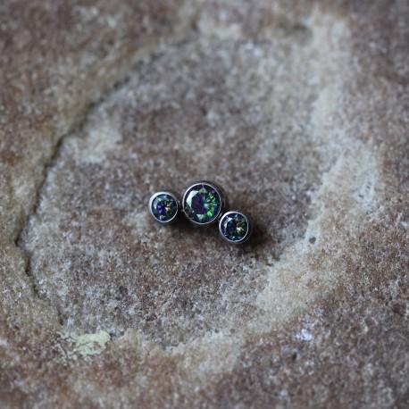 Nakrętka tytanowa z trzema kryształkami TĘCZOWY