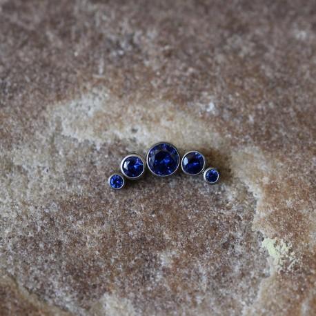 Nakrętka tytanowa z pięcioma kryształkami GRANATOWY