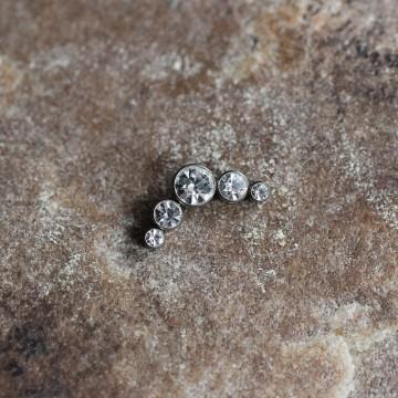 Nakrętka tytanowa z pięcioma kryształkami BEZBARWNY