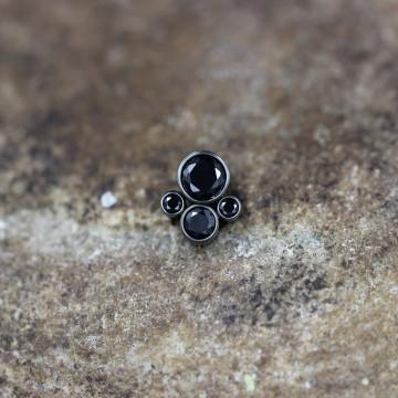 Nakrętka tytanowa z czterema kryształkami CZARNY