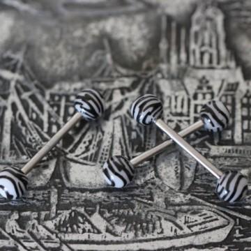 Sztanga do języka tygrys/zebra z białymi akrylowymi kulkami