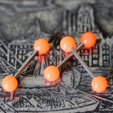 Sztanga do języka z pomarańczowymi akrylowymi kulkami