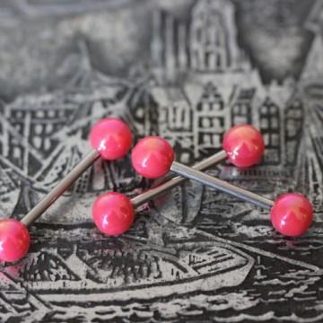 Sztanga do języka z różowymi akrylowymi kulkami