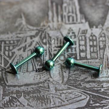 Labret ze stali anodyzowanej zielony z kulką