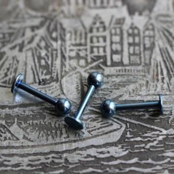 Labret ze stali anodyzowanej niebieski z kulką