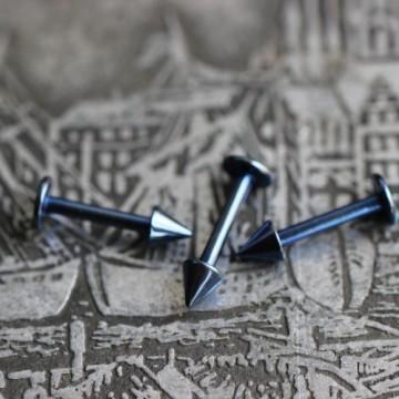 Labret ze stali anodyzowanej niebieski ze stożkami