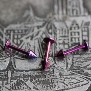 Labre ze stali anodyzowanej fioletowy ze stożkami