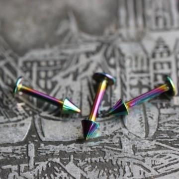 Labret ze stali anodyzowanej tęczowy ze stożkami