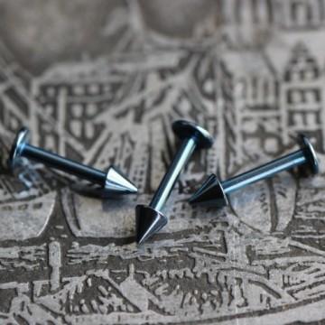 Labret ze stali anodyzowanej jasnoniebieski ze stożkami