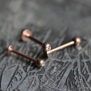 Labret ze stali z różówego złota z kryształkiem