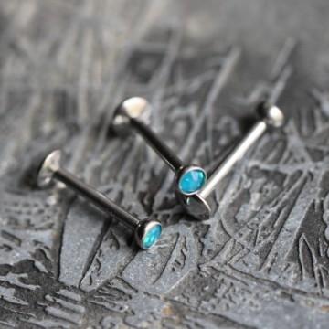 Labret ze stali z niebieskim kryształkiem