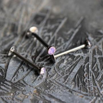 Labret ze stali z różowym kryształkiem/opalitem