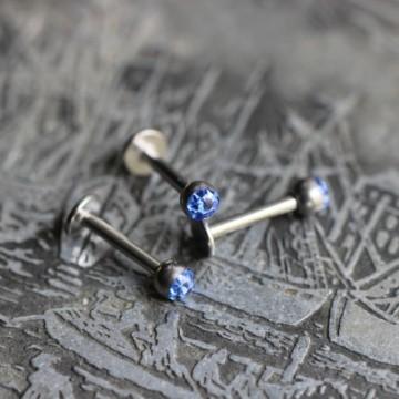 Labret ze stali z kryształkami Ferido niebieski