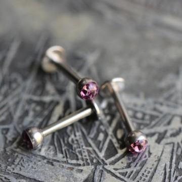 Labret ze stali z kryształkami Ferido Fioletowy