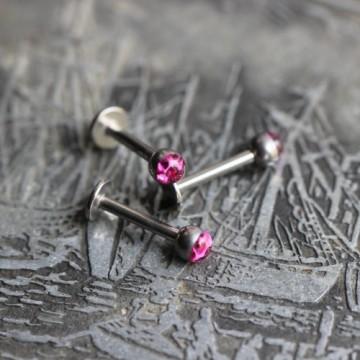 Labret ze stali z kryształkami Ferido FUKSJA