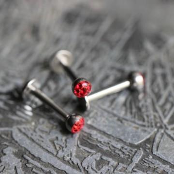 Labret ze stali z kryształkami Ferido CZERWONY