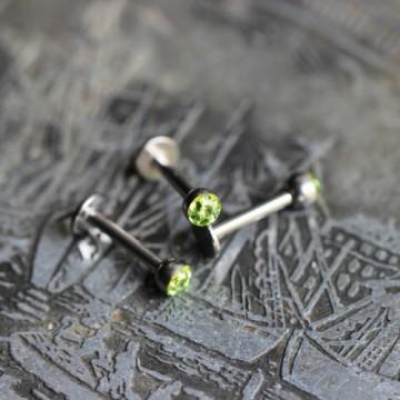 Labret ze stali z kryształkami Ferido ZIELONY