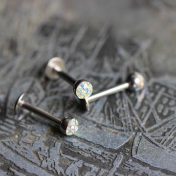 Labret ze stali z kryształkami Ferido Aurora Borealis