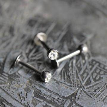 Labret ze stali z kryształkami Ferido BEZBARWNY