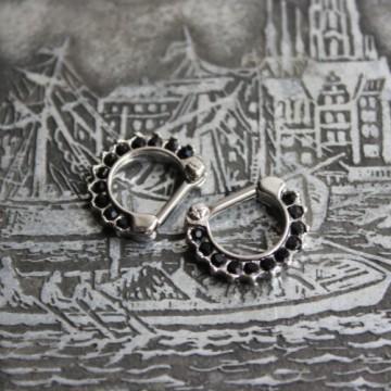 Septum clicker z kryształkami CZARNY