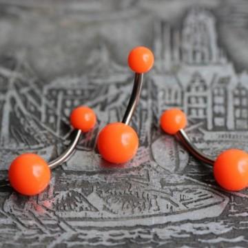Tytanowy kolczyk do pępka z pomarańczowymi kulkami