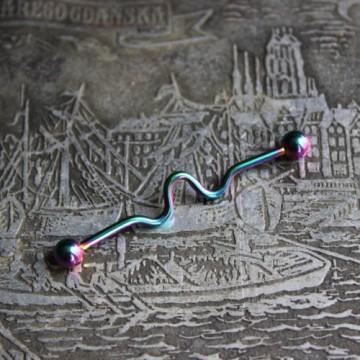 Tęczowa falowana anodyzowana sztanga ze stali (INDUSTRIAL)