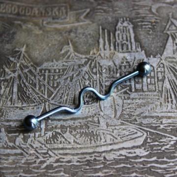 Niebieska falowana anodyzowana sztanga ze stali (INDUSTRIAL)