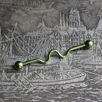 Zielona falowana anodyzowana sztanga ze stali (INDUSTRIAL)