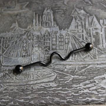 Czarna falowana anodyzowana sztanga ze stali (INDUSTRIAL)