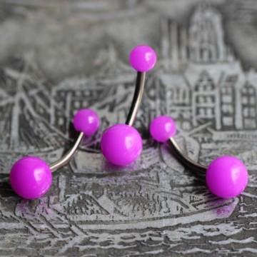 Tytanowy kolczyk do pępka z fioletowymi kulkami