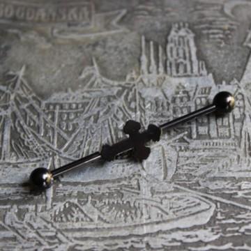 Sztanga ze stali industrial Krzyż Gotycki CZARNY