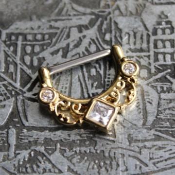Clicker do sutka ze stali ornament z kryształkami ZŁOTO
