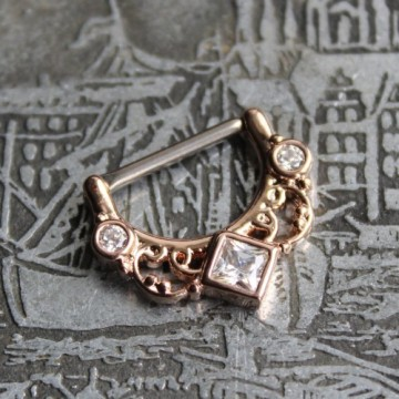 Clicker do sutka ze stali ornament z kryształkami RÓŻOWE ZŁOTO